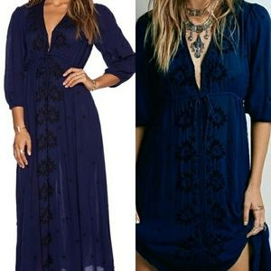 Free People Fable Embroidered Maxi Dress